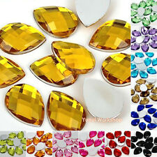 Teardrop Shape Colors Acrylic Flat Back Facet Rhinestones Scrapbooking Art Craft