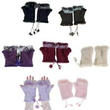 Women Lady Girl Hand Wrist Warmer Fingerless Winter Gloves Faux Fur Trim Mittens