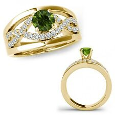 0.50 Ct Green Diamond Halo Engagement Fancy Infinity Ring Band 14K Yellow Gold