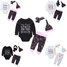 4pcs Newborn Baby Girl Boy Romper Pants Leggings Hat Headband Outfit Clothes Set