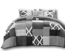 DaDa Bedding Modern Chevron Grey Patchwork Square Quilted Coverlet Bedspread Set