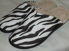 Fleece Lined Slip on Scuff Slipper Indoor/Outdoor Sole~M,L,X~Microfiber ZEBRA
