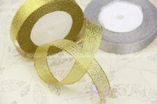 20mm Wire Edge Glitter Gold Lame Ribbon x 22 metres Christmas Gift Wrapping A041
