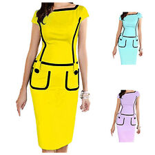 Women Dress Pocket Office Dress Short Sleeve Pencil Dress Knee-length BF