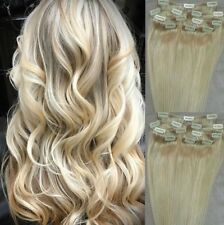 "18"",20"",22"" 100% REMY Human Hair Extensions 7Pc Clip in #60 White Blonde"