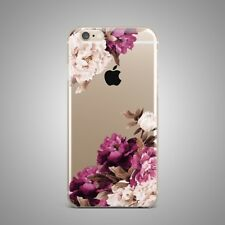Flowers Art Floral Design TPU Rubber Silicone Clear Cover Case Back For iPhone