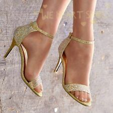 LADIES SPARKLY DIAMANTE HIGH HEEL PEEP TOE ANKLE STRAP PARTY EVENING SANDALS 3-8