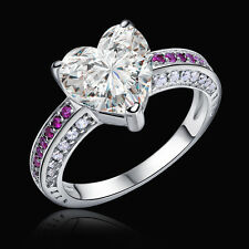 2.3 Ct  Pink Sapphire Heart White CZ 925 Sterling Silver Engagement Ring Sz 5-10