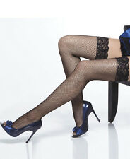 Fishnet thigh high stockings with lace top One Size and Queen