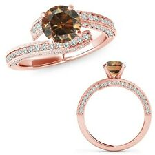 1 Carat Champagne Color Diamond Filigree By Pass Solitaire Ring 14K Rose Gold
