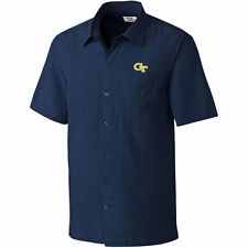 Cutter & Buck Georgia Tech Yellow Jackets Navy Solana Check Button-Up Shirt