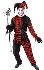 Adult Mens Sinister Evil Jester Scary Halloween Fancy Dress Costume