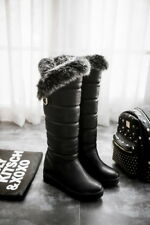 Womens lady Fur Lining Snow knee  Boots Wedge Heel Outdoor Knee High Boots