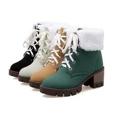 Fur Furry Platform Stylish lace Up Chunky Womens Ankle Winter Warm Snow Boots