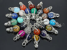 Natural Gemstone Round Ball Eagle Claw Falcon Talons Healing Pendant Charm Bead