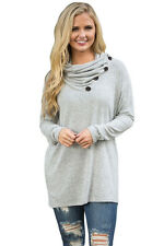 New Women Loose Casual Long Sleeve Buttoned Cowl Neck Long Top Blouse T-shirt
