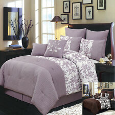 Queen Size 8PC Bliss Bed in A Bag Includes Bed Skirt and Decorative Pillows