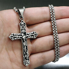 Silver 316L Stainless Steel INRI Jesus Cross Crucifixion Mens Pendant Necklace