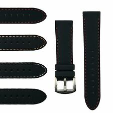 B & R Bands Durable Silicone Waterproof Watch Band Strap With Stitch 20mm 22mm