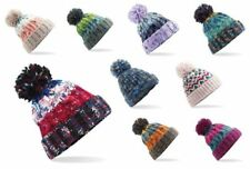 Unisex Womens Warm Knitted Woolly Winter Beanie Bobble Ski Hat Slouch Beret Cap