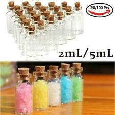 Wholesale Lots 20 pcs 2ml/5ml Small Empty Clear Glass Bottles Vials with Cork