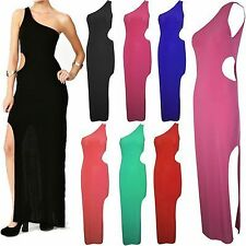 Womens Ladies Side Cut Out Front Split One Shoulder Jersey Bodycon Maxi Dress