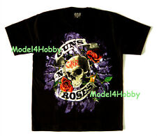 GUNS N' ROSES T-Shirt Black Sz M L XL PUNK ROCK HM SKULL GUN FLOWER SKULL TATTOO