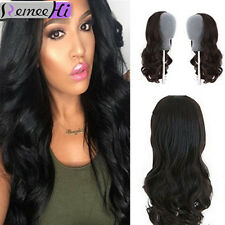 2017 Hot ! Unprocessed Remy Human Hair Wave Half 3/4 Glueless Wig Clip-in hair