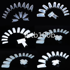 500 Artificial French False Acrylic Nail Art Tips White Clear Natural UV Gel @WS