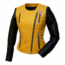 Women's Leather Jacket Peggy black yellow Genuine Leather Lamb Nappa Biker Style