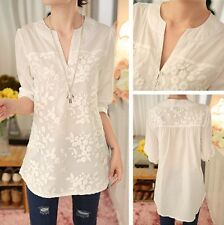 Fashion Womens Casual Loose V-Neck Long 3/4 Sleeve White T Shirts Blouse Tops