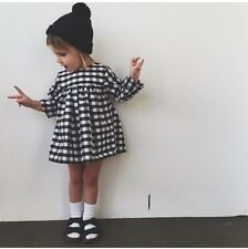 Baby Girl Kids Summer Dress Long sleeve grid Tshirt Clothes White Black Plaids