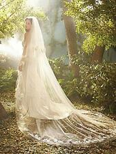 Ivory/White 2Tier Handmade Wedding Bridal 3M lace applique Edge Veil With Comb