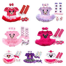 4PCS Baby Girls Romper Tutu Dress Headband Party Minnie Mouse Costume Outfit Set