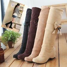 Ladies Cuffed Slouchy Bow Tie Faux Suede Casual Over The Knee Boots plus size