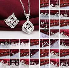 Fashion Jewelry 925Silver Earring Necklace Bracelet Ring Sets Valentine's gifts