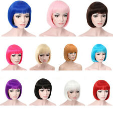 Women Full Bangs Wig Short Straight BOB Hair Cosplay Party Hairpieces Colorful