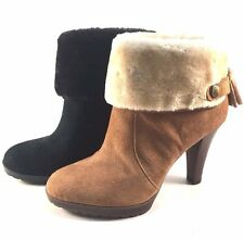 Anne Klein Teamy Suede Leather Round Toe Ankle Booties Choose Sz/Color