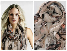 Women Ladies Begonia Flower Warm Soft Neck Scarf Shawl Wrap Stole Long Chiffon b