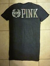 "VICTORIAS SECRET PINK NEW  BLING SEQUIN ""PINK"" CREST DOG SCOOPNECK TEESHIRT NWT"