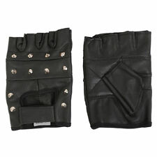 REAL SOFT LEATHER FINGERLESS STUDDED MOTORCYCLE BIKER DRIVING CYCLING GYM GLOVES