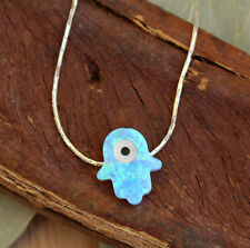 New Hamsa Evil Eye Protection Necklace Blue Opal Charm Sterling Silver Choker