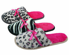 FOREVER DREAMING Ladies Animal Print Mule Slippers Bow Bright Leopard Zebra