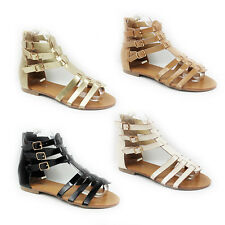 NEW WOMENS LADIES FLAT STRAPPY GLADIATOR STYLE ANKLE SANDALS SHOES SIZE 3-8