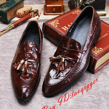 Mens Real Leather Tassel Fashion Formal Dress Shoes Oxfords Slip On Loafers Size