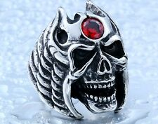 Biker Ring Men Huge Heavy Skull Stainless Steel US Size Band Gothic Wing Cool