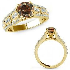 1 Carat Champagne Color Diamond Lovely Solitaire Halo Ring Band 14K Yellow Gold