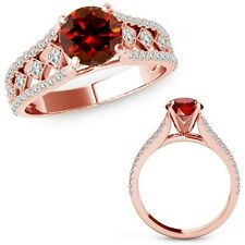 0.75 Carat Red Diamond Beautiful Solitaire Halo Wedding Ring Band 14K Rose Gold