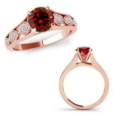 1 Carat Red Diamond Filigree Solitaire Halo Anniversary Ring Band 14K Rose Gold