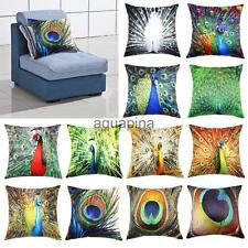 Colorful Peacock Feathers Home Decor Throw Pillowcase Cushion Cover 18x18""